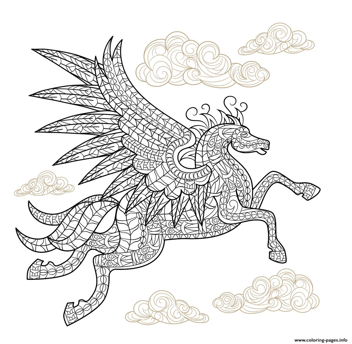 Pegasus Winged Horse Hard Advanced Adult Animal Coloring