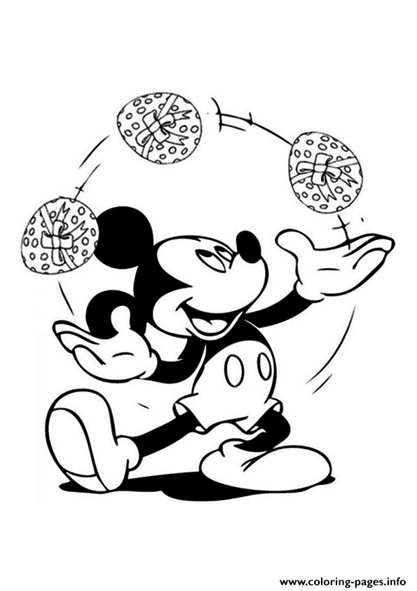 Mickey Are Juggling Easter Eggs Disney coloring pages