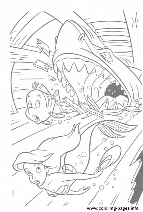 Shark Attacks Ariel And Brimsby Disney Princess coloring pages