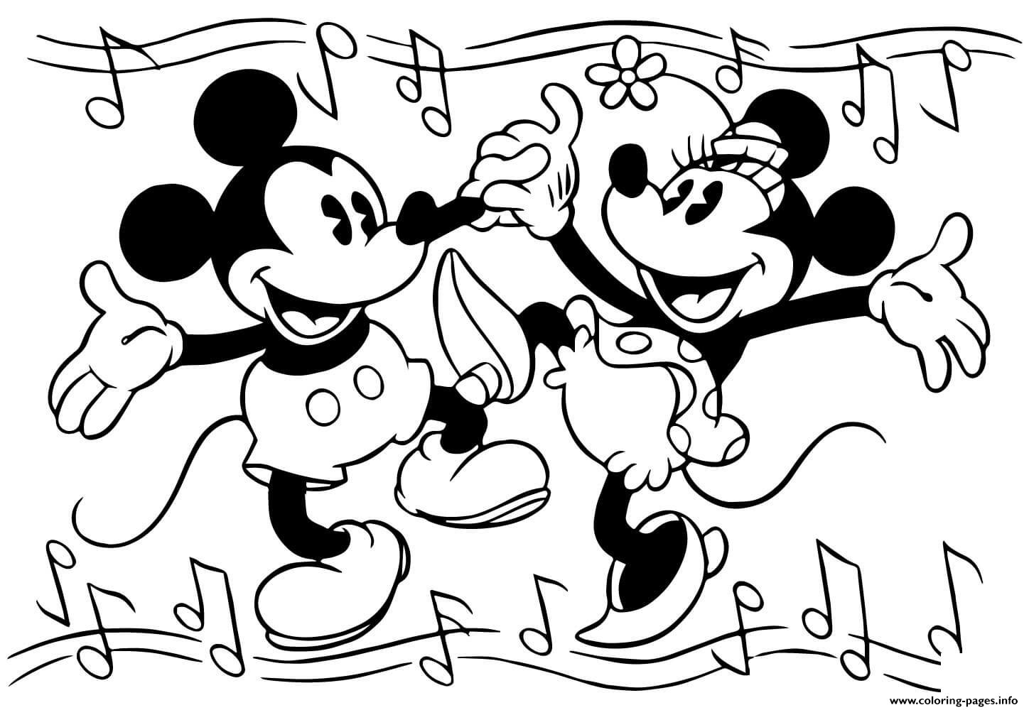 Minnie And Mickey Mouse Are Dancing Disney Coloring Pages
