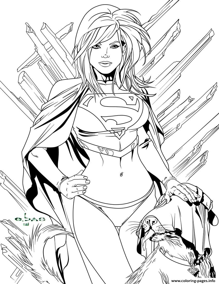 Supergirl Power Girl Coloring Pages Printable