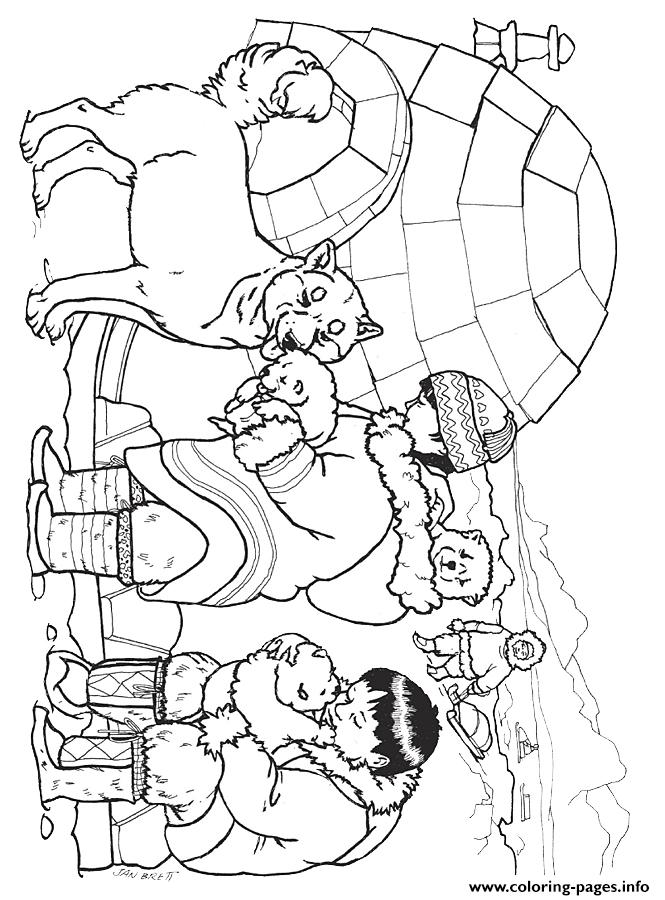 Three Snow Bears Husky Pups Coloring Page By Jan Brett Coloring