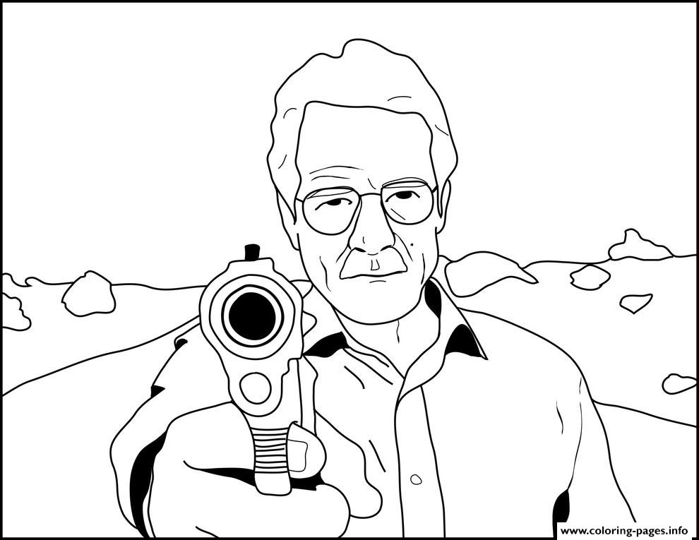 Walter White Breaking Bad Shoot Gun Coloring Pages Printable