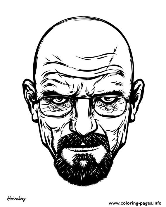 White Breaking Bad Head Coloring Pages Printable