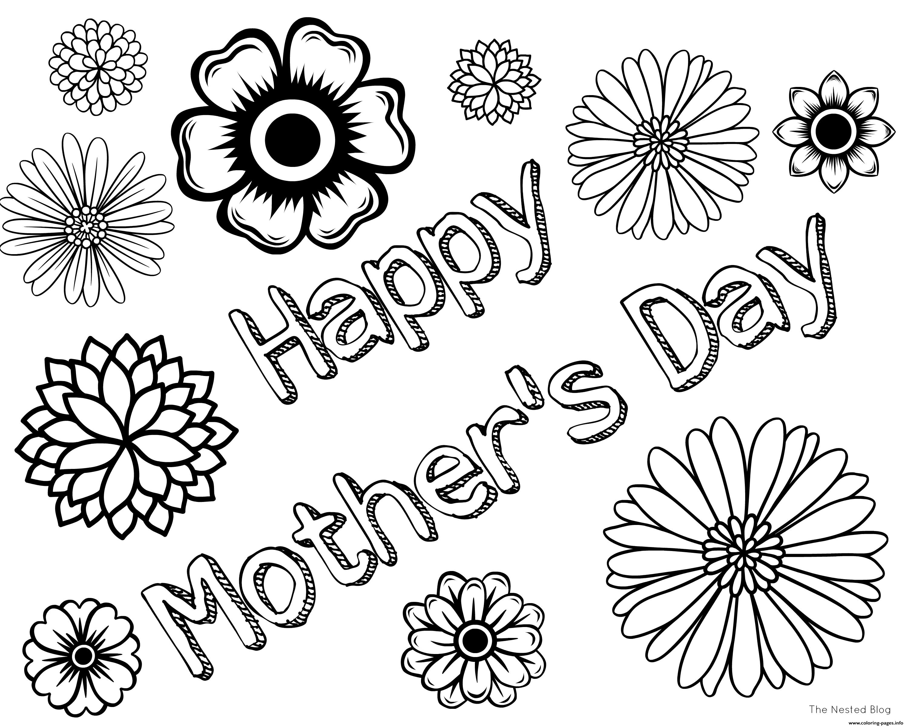 Free Mothers Day Happy Coloring Pages Printable