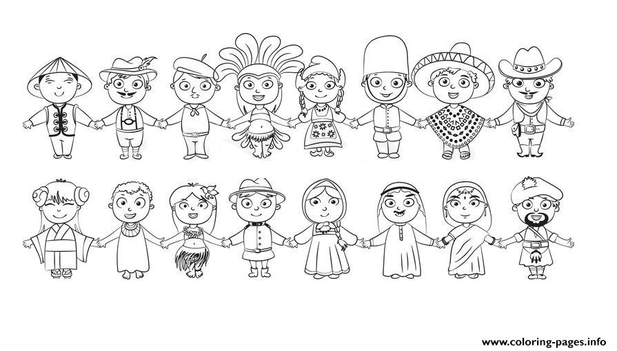 world kids nationalities blanc and white diversity coloring pages