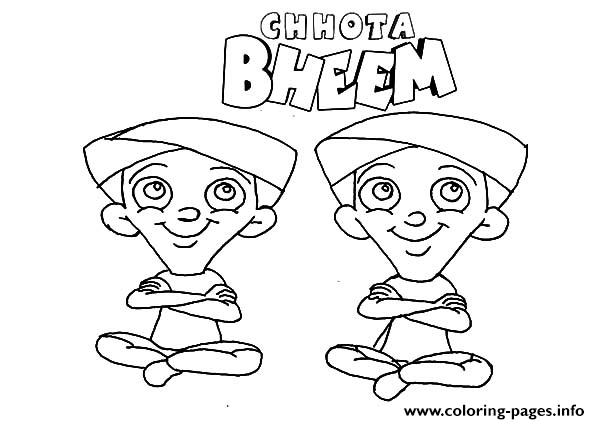 Chota Bheem Characters Dhole and Bhole Coloring pages Printable