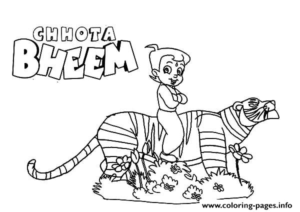 Chota Bheem Ride On Tiger Back Coloring Pages Printable