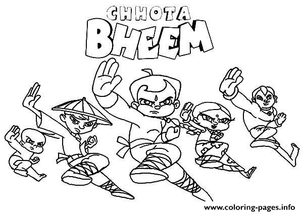 Chota Bheem And Friends Fighting Stance Coloring Pages Printable