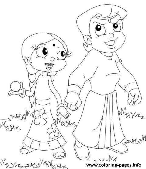 chhota bheem and krishna kids coloring pages printable - Baby Krishna Images Coloring Pages