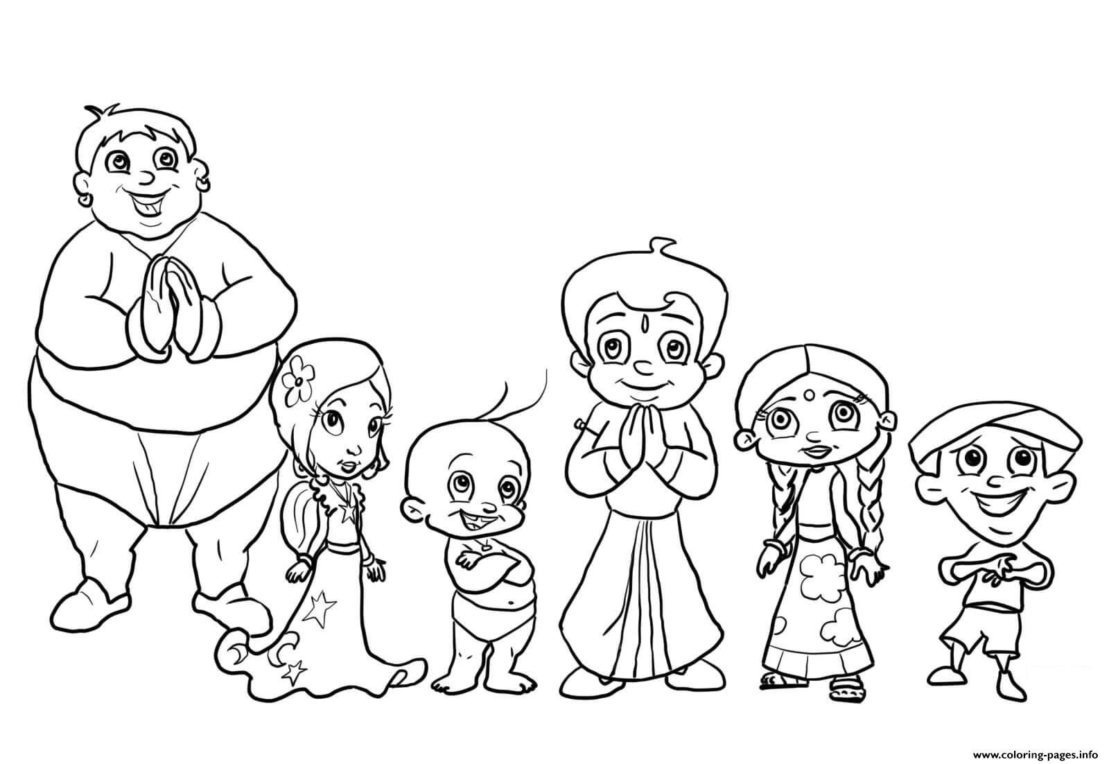 Chota Bheem Characters Coloring