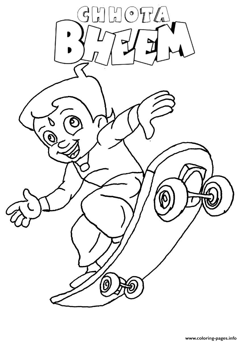 Chhota Bheem Playing Skate Coloring Pages Printable