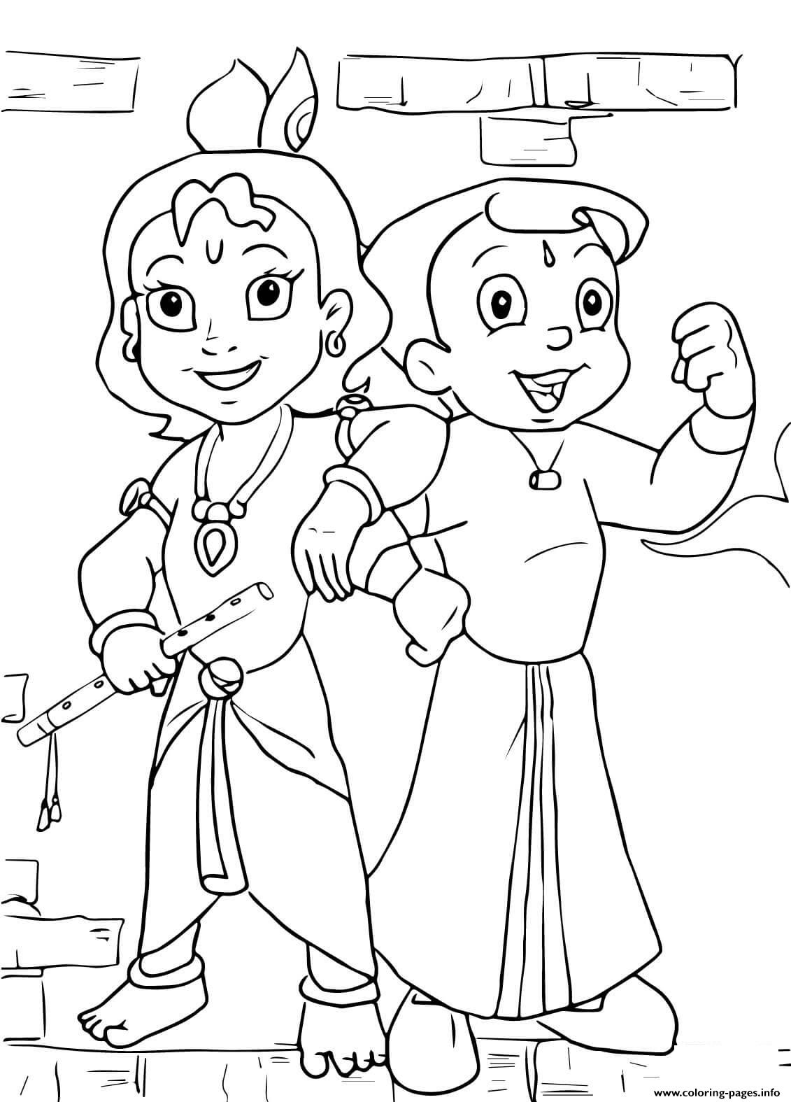 Chhota Bheem And Krishna Images Coloring Pages Printable
