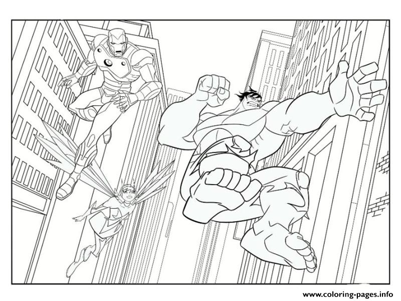 Iron Man Avec Hulk Superheros Coloring Pages Print Download