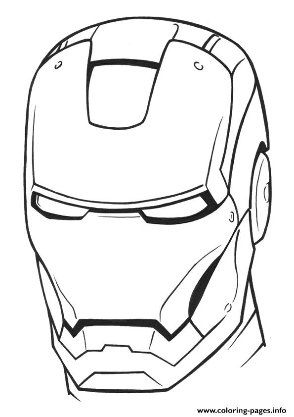 Avengers Coloring Pages Iron Man : Iron man helmet a avengers marvel coloring pages printable
