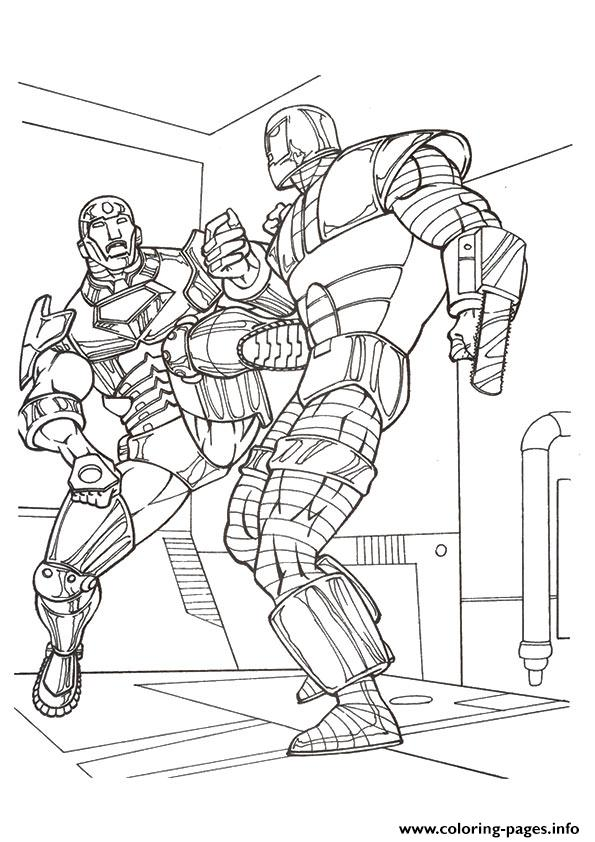 Iron Man In Combat A4 Avengers Marvel Coloring Pages