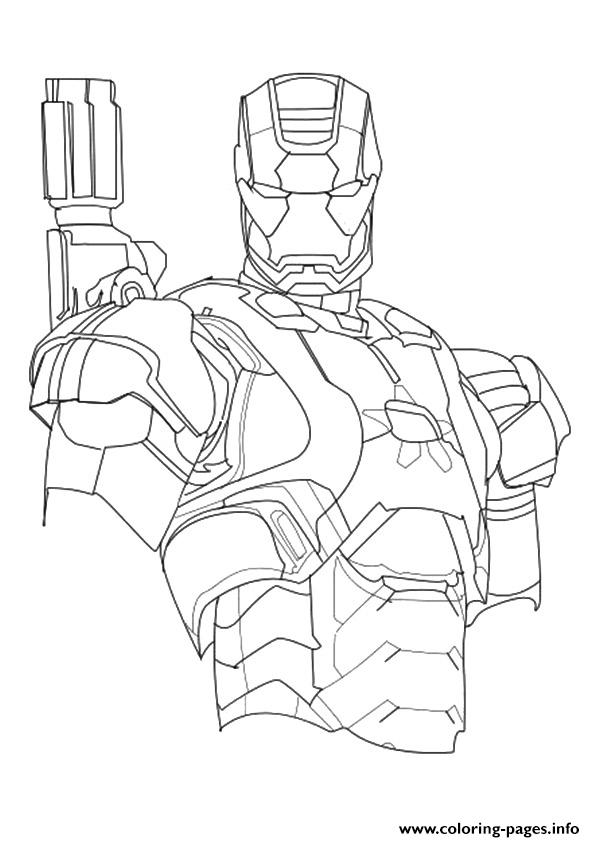 Iron Patriot A4 Avengers Marvel Coloring Pages Printable