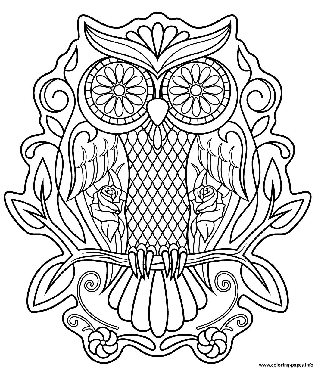 Sugar Skull Owl Calavera Coloring