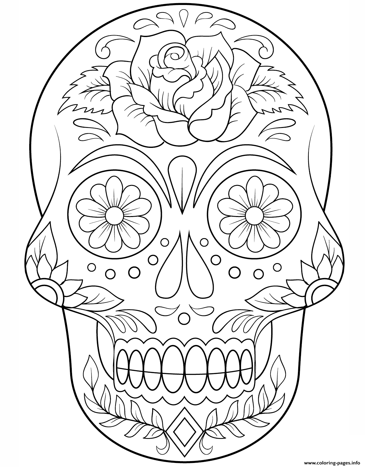 Sugar Skull With Flowers Calavera coloring pages