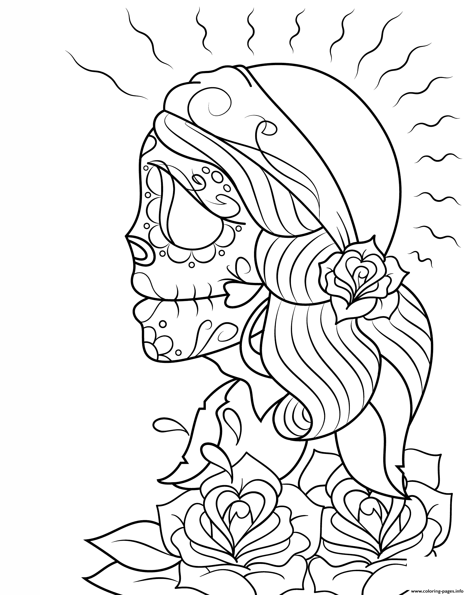 Day Of The Dead Gypsy By Asatorarise Calavera Coloring Pages Printable