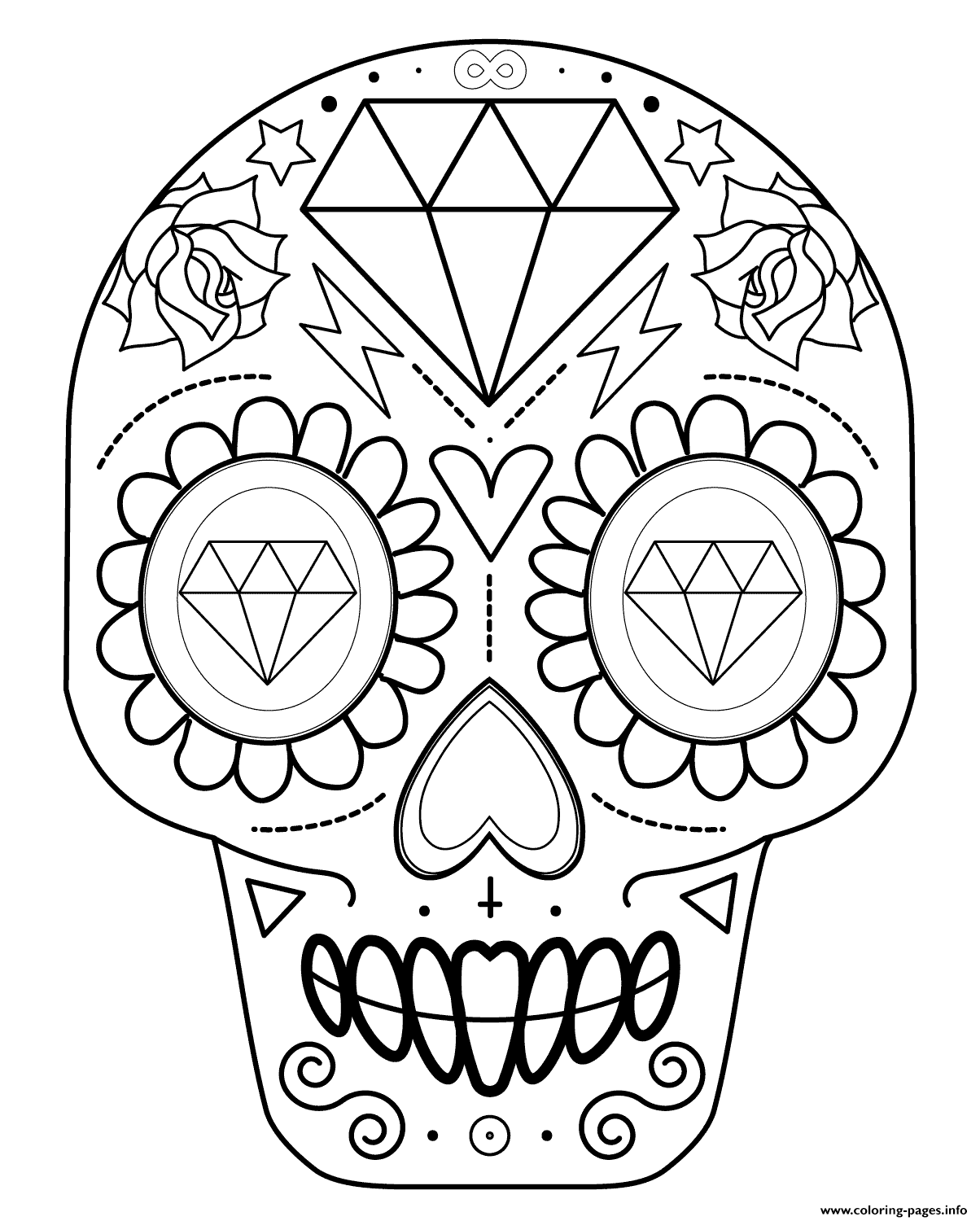 Sugar Skull With Diamonds Calavera coloring pages