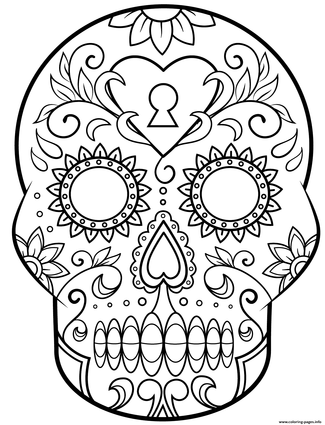 Day of the dead sugar skull calavera coloring pages printable Coloring book day
