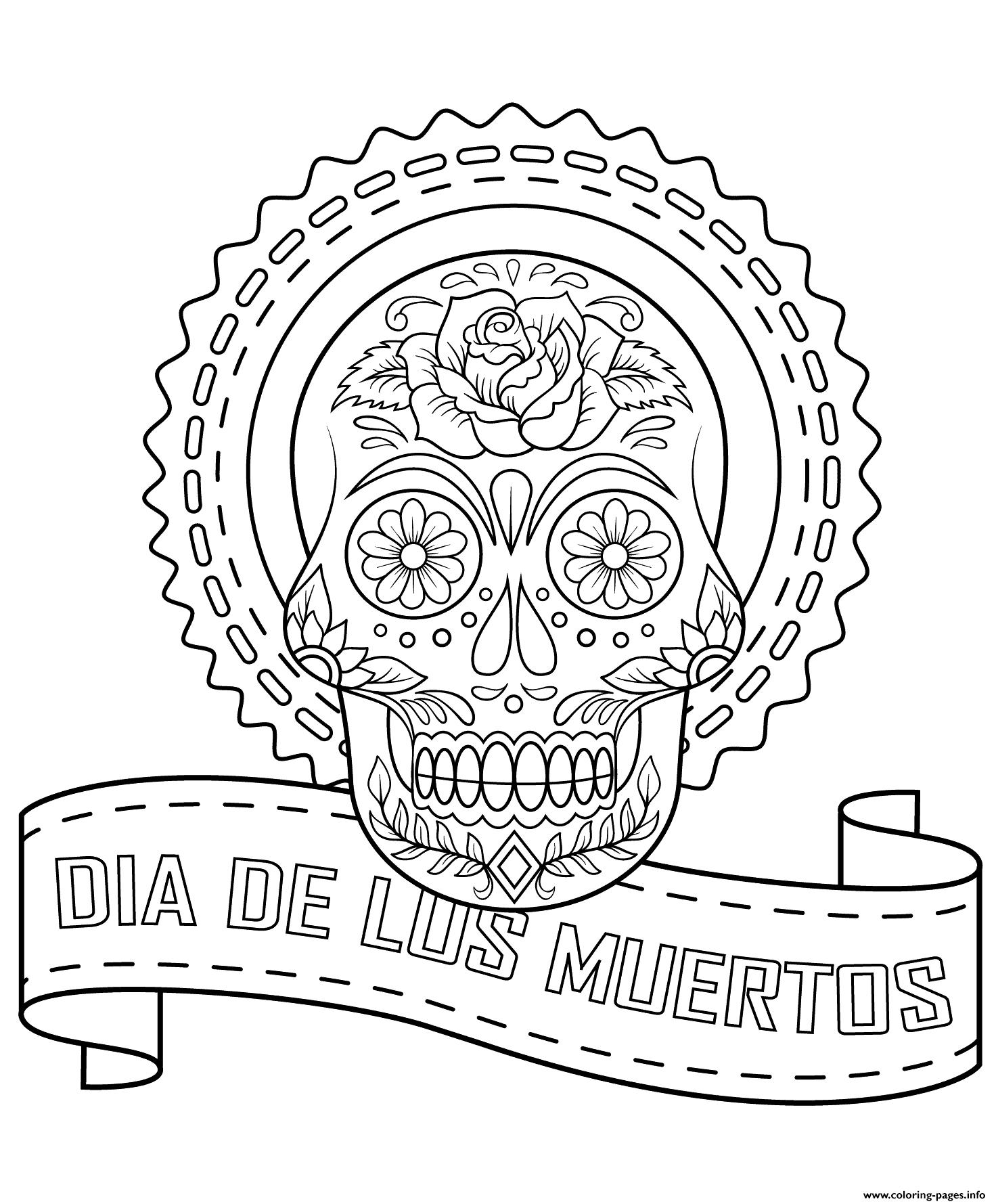 Dia De Los Muertos Calavera Coloring
