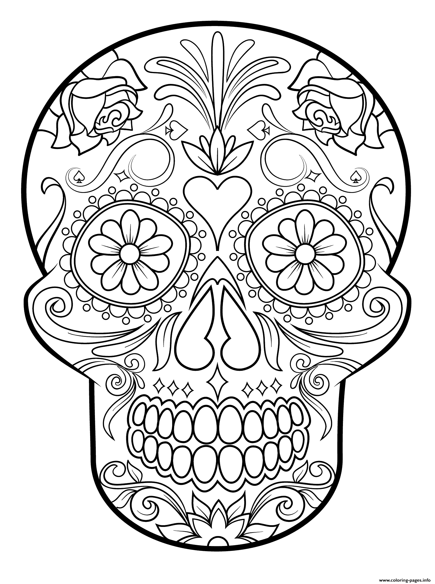sugar skull 3 calavera coloring pages printable