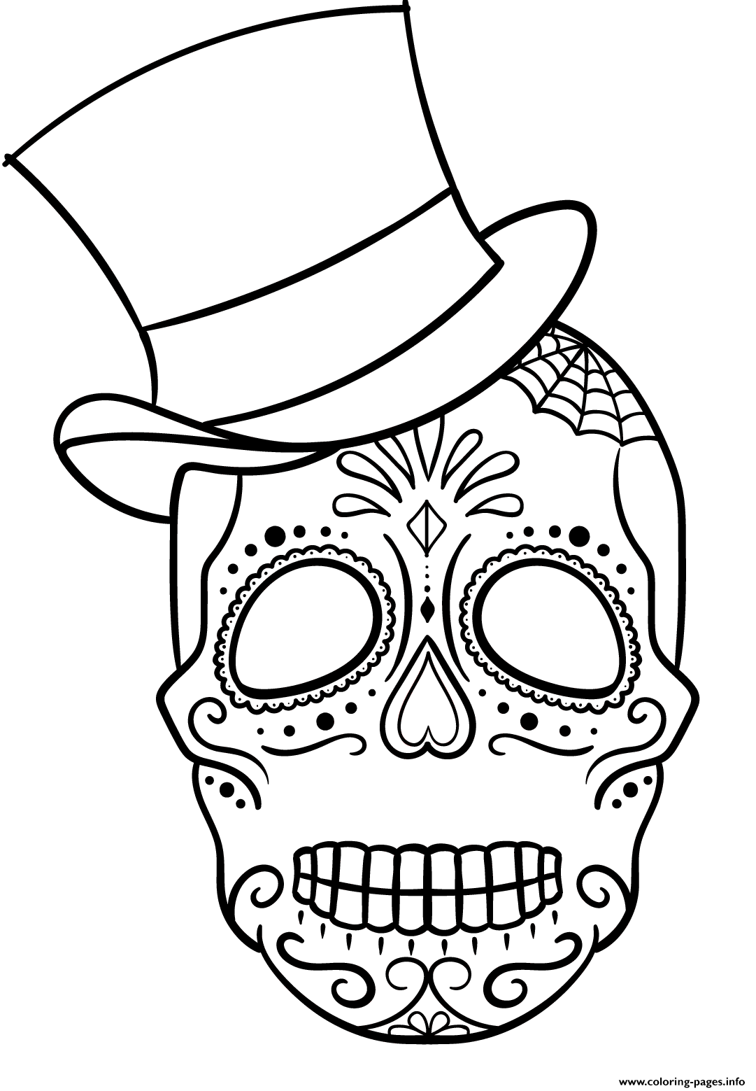 Sugar Skull With Top Hat Calavera coloring pages