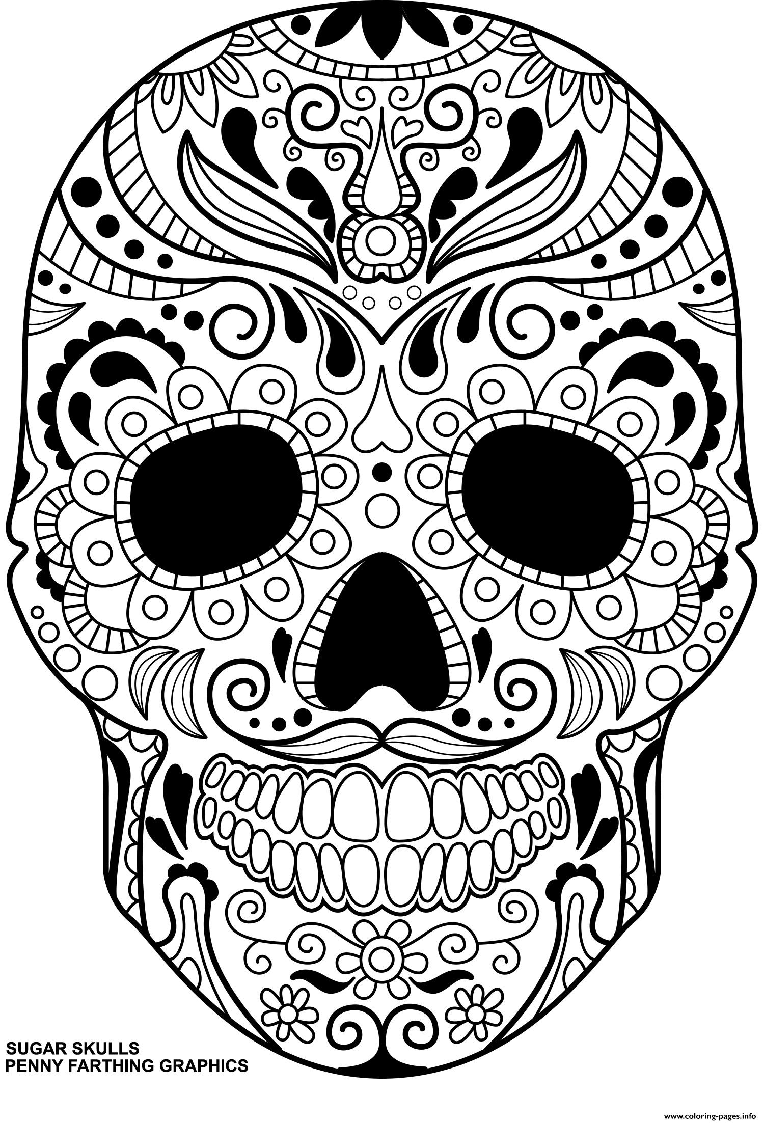 sugar skulls day of the dead calavera coloring pages