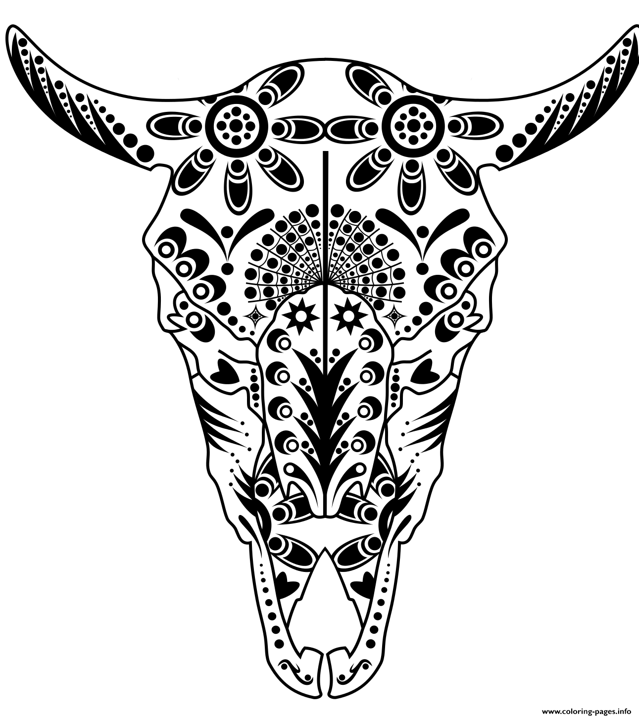 Cow Sugar Skull Pitbull Advanced Calavera Coloring Pages Print Download