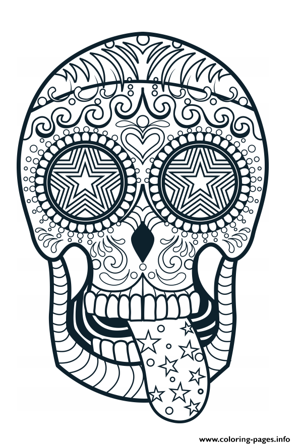 Sugar Skull Advanced Calavera Coloring Pages Printable