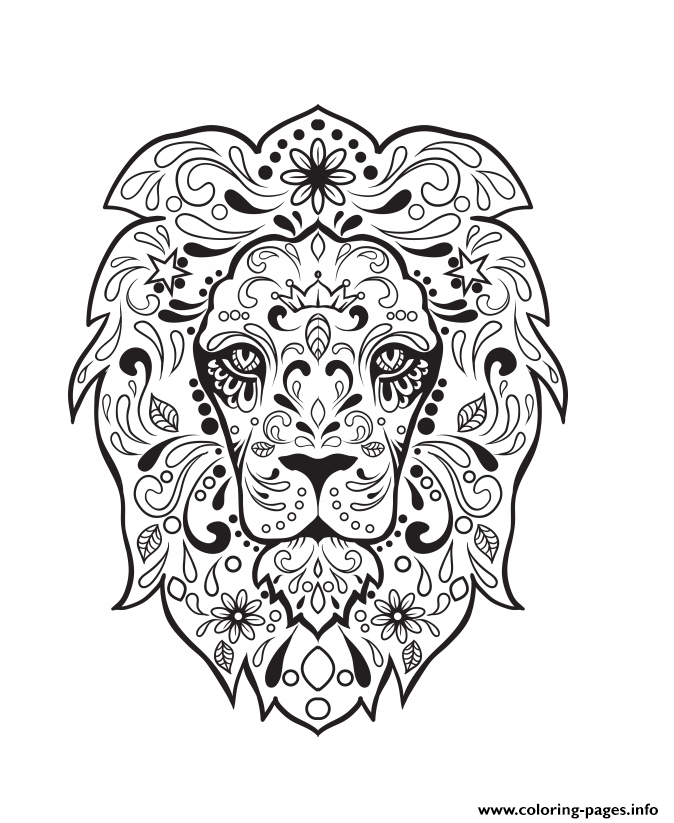 Lion Sugar Skull Calavera Coloring Pages Printable