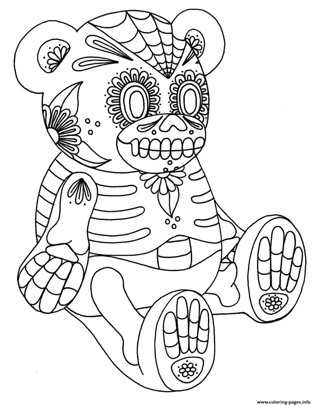 Sugar Skull Bear 2 Calavera Coloring Pages Printable