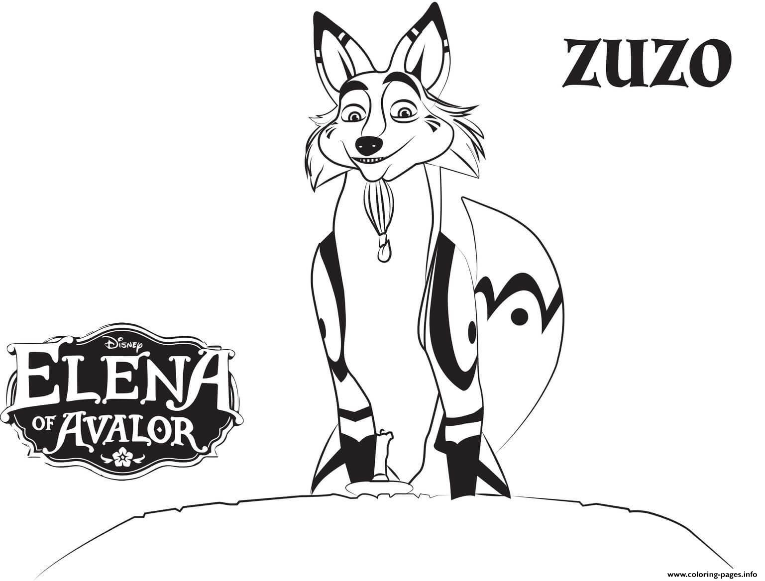 Elena Of Avalor Zuzo Disney Coloring Pages Printable