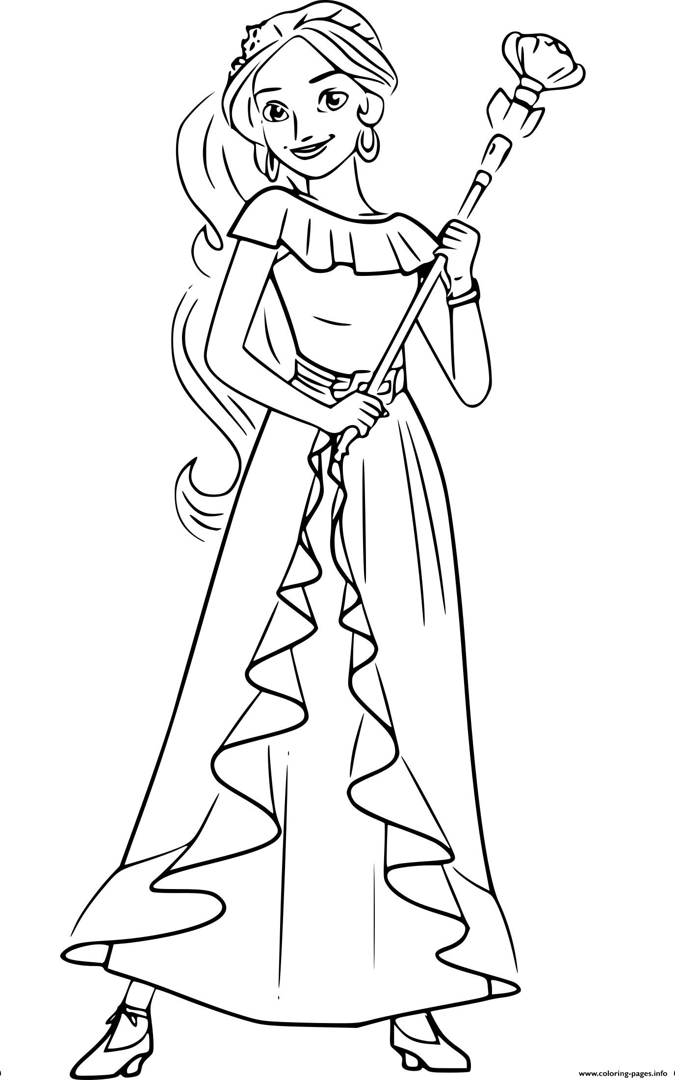 It is a picture of Peaceful princess elena coloring page