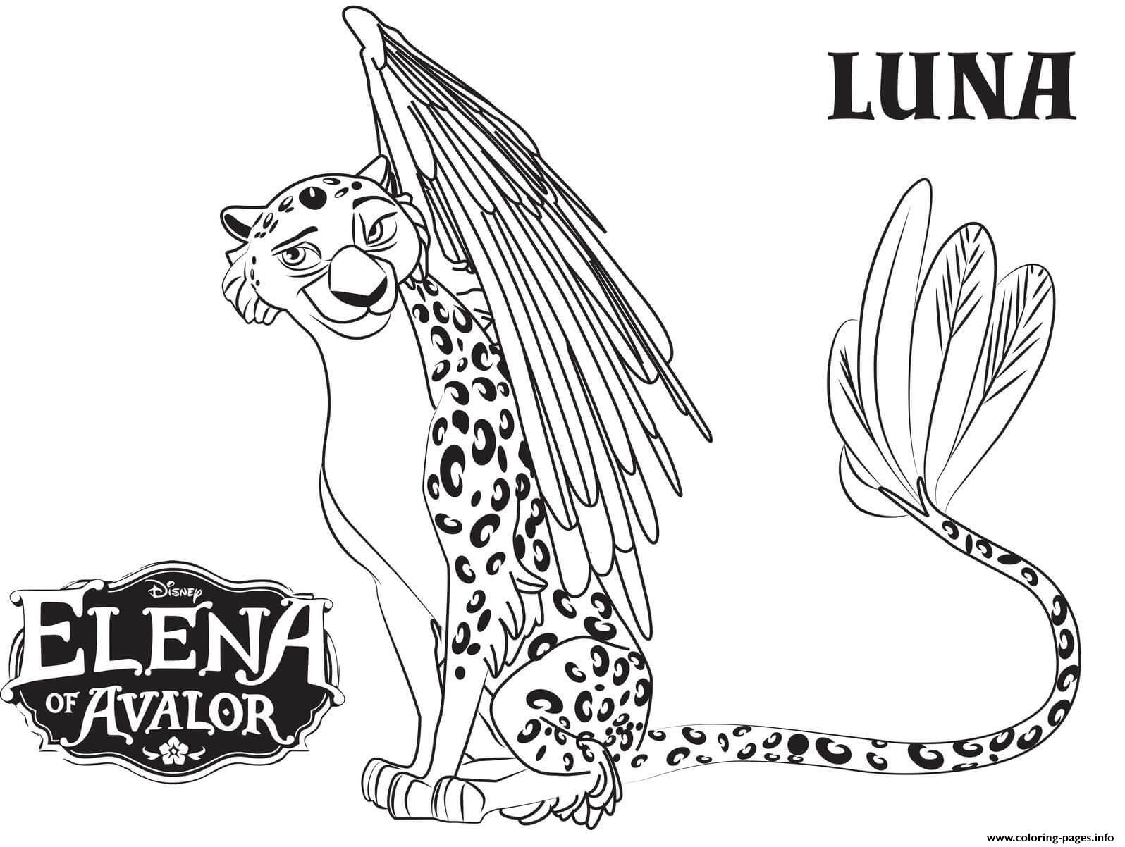 elena of avalor luna coloring pages - Elena Coloring Pages