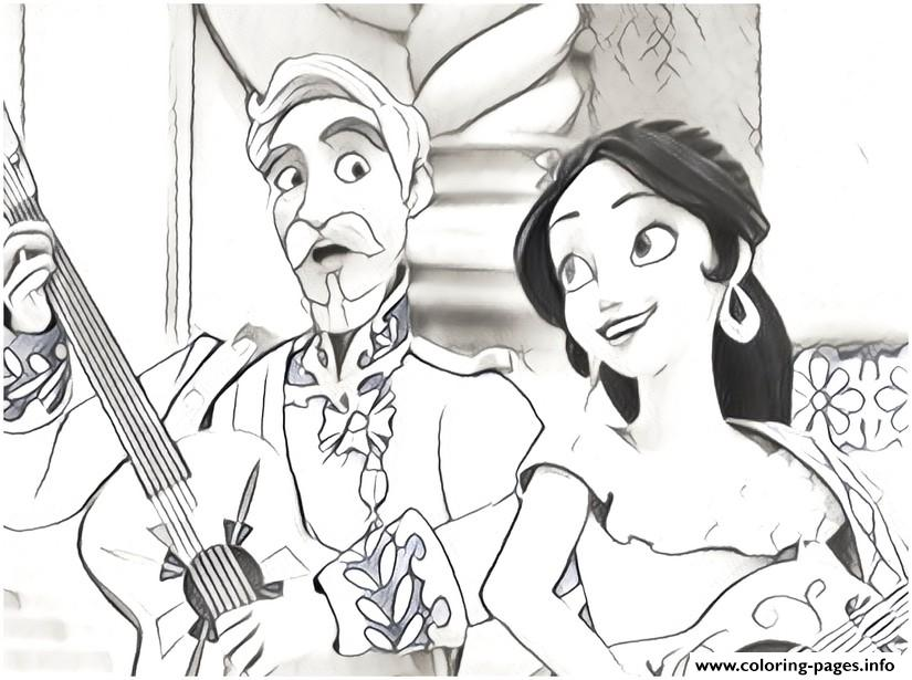 - Elena Of Avalor Play Music With Francisco Disney Coloring Pages Printable