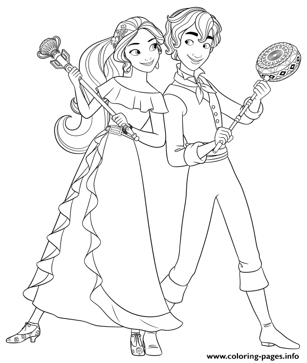 Princess Elena And Mateo Disney Princess Coloring Pages
