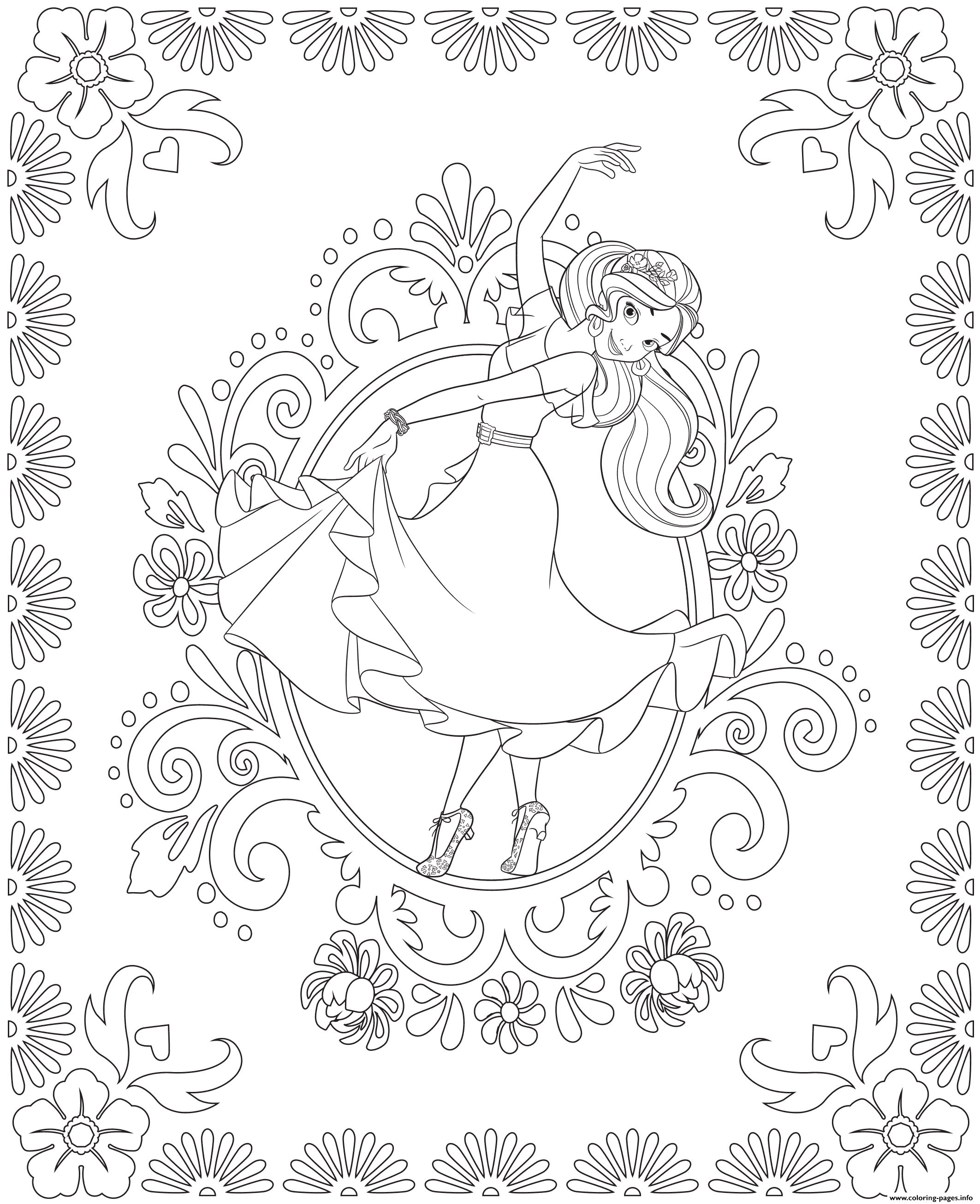 elena of avalor colouring page dance coloring pages printable