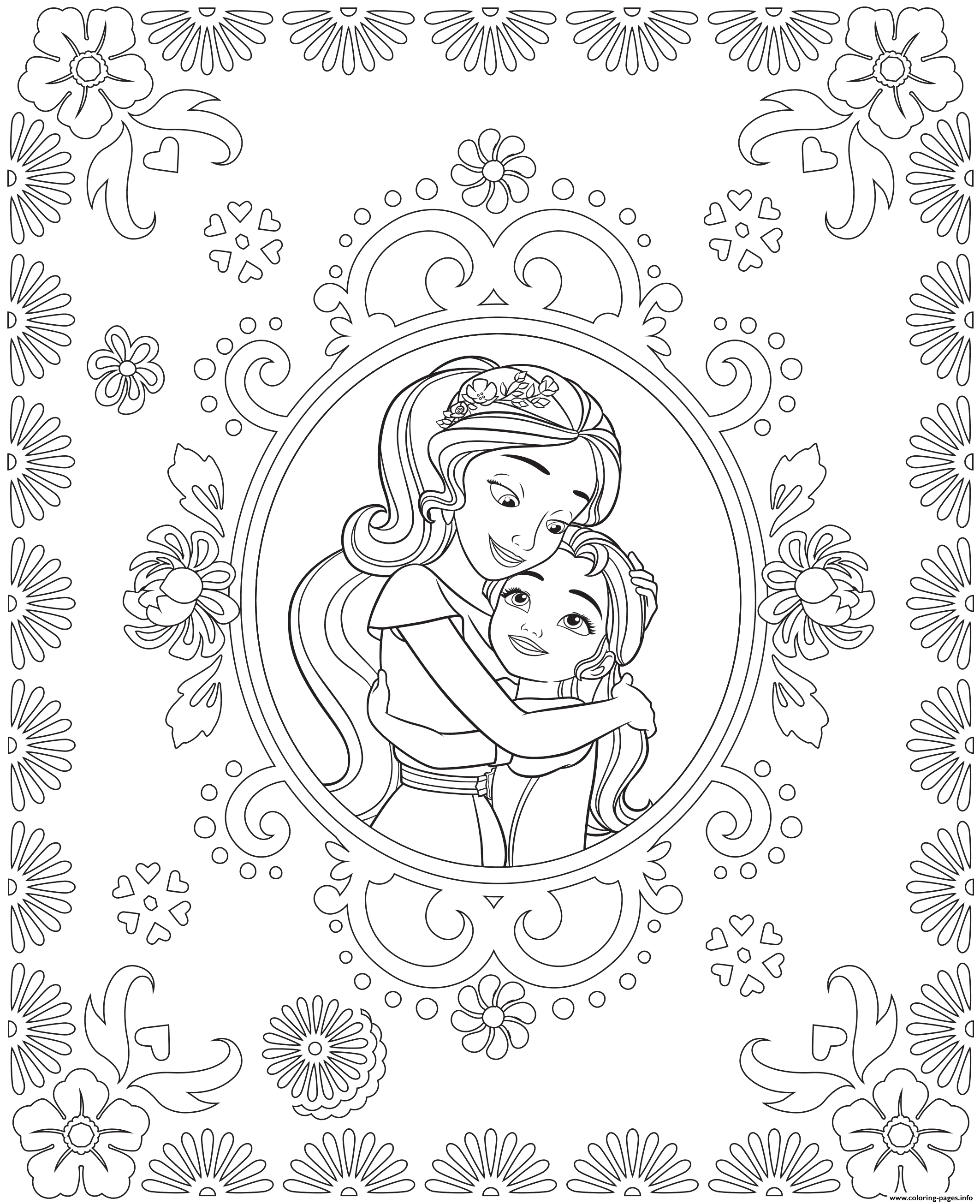Princess Elena Of Avalor And Sister Isabel Colouring Page