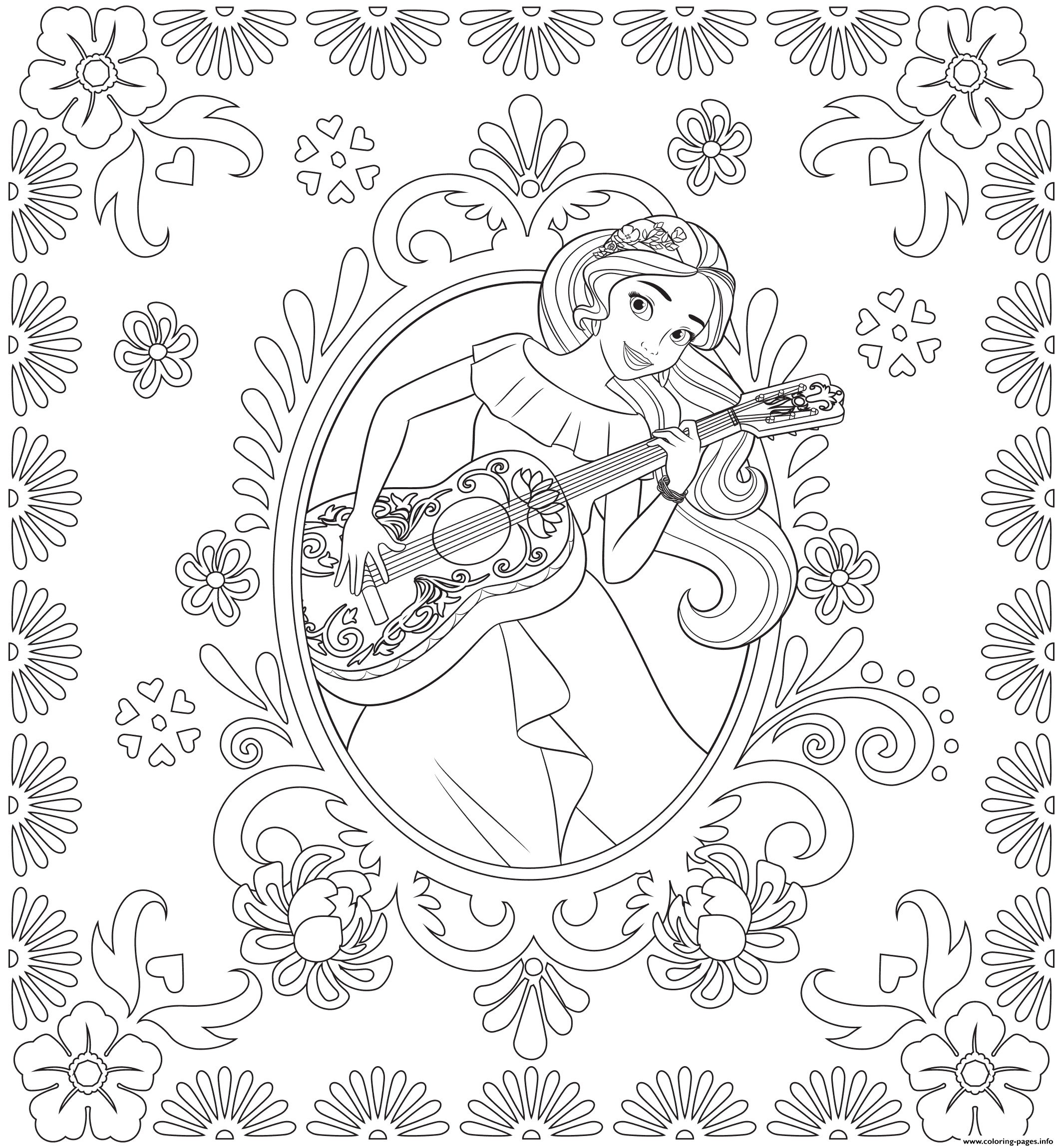 graphic regarding Elena of Avalor Coloring Pages Printable called Princess Elena Of Avalor Disney Princess Coloring Internet pages