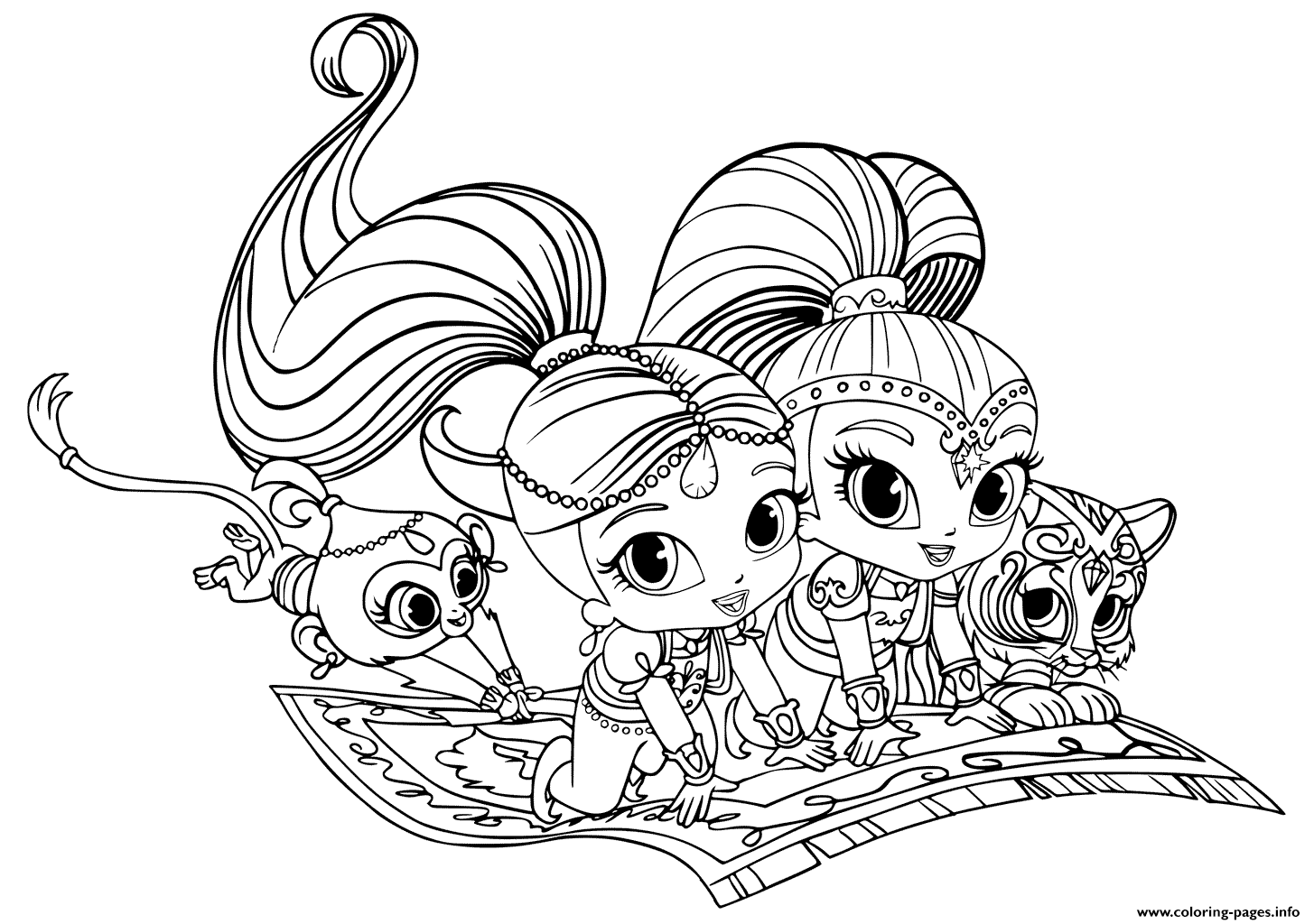 Shimmer And Shine Pets Coloring