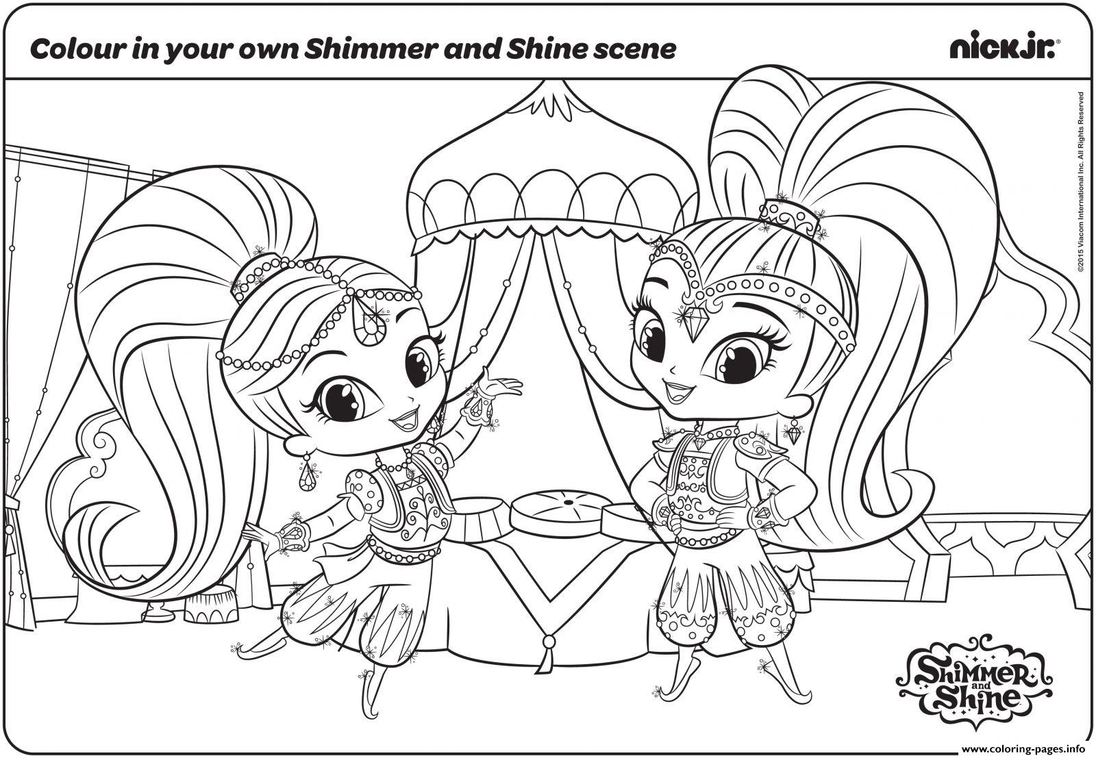 Free cartoon coloring pictures - Shimmer And Shine Fun With Colouring Page Coloring Pages Printable