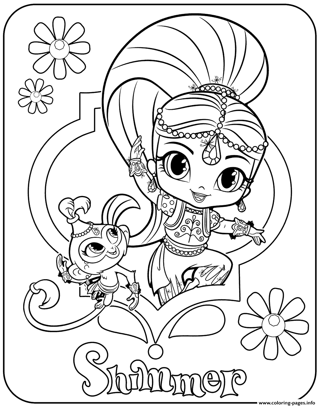 sweet genie shimmer and pet monkey coloring pages printable