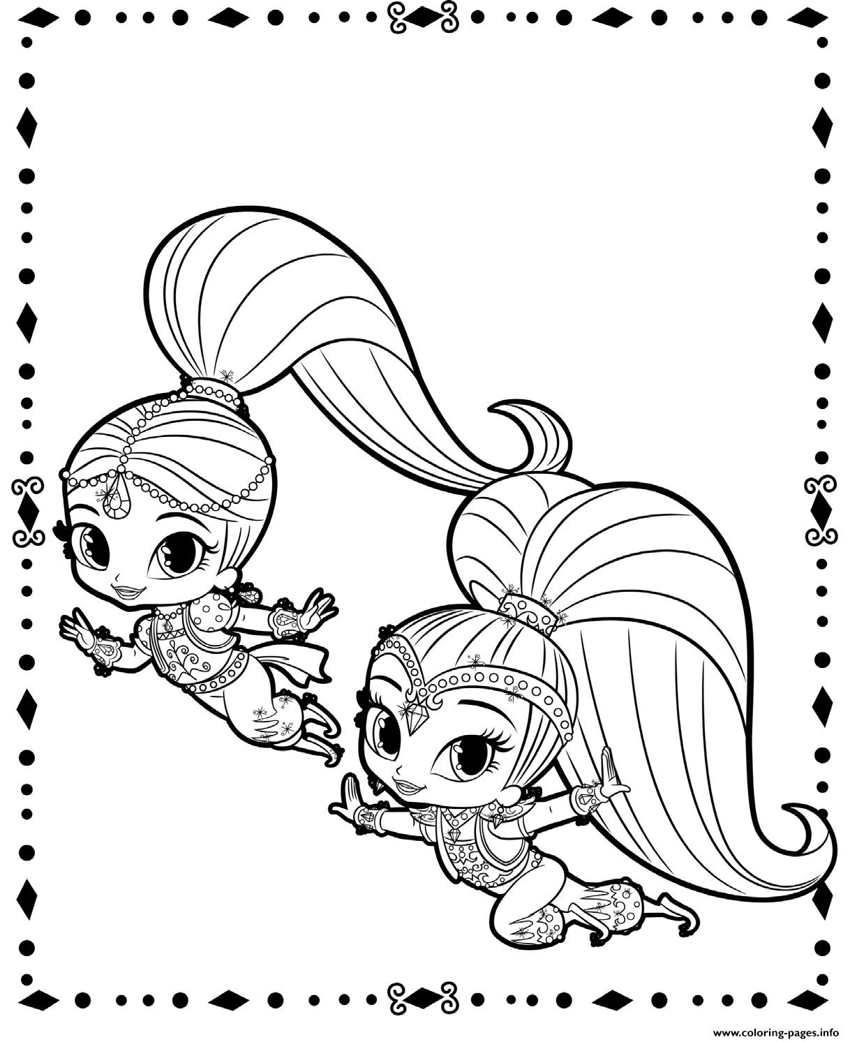 fluing genies shimmer and shine coloring pages printable