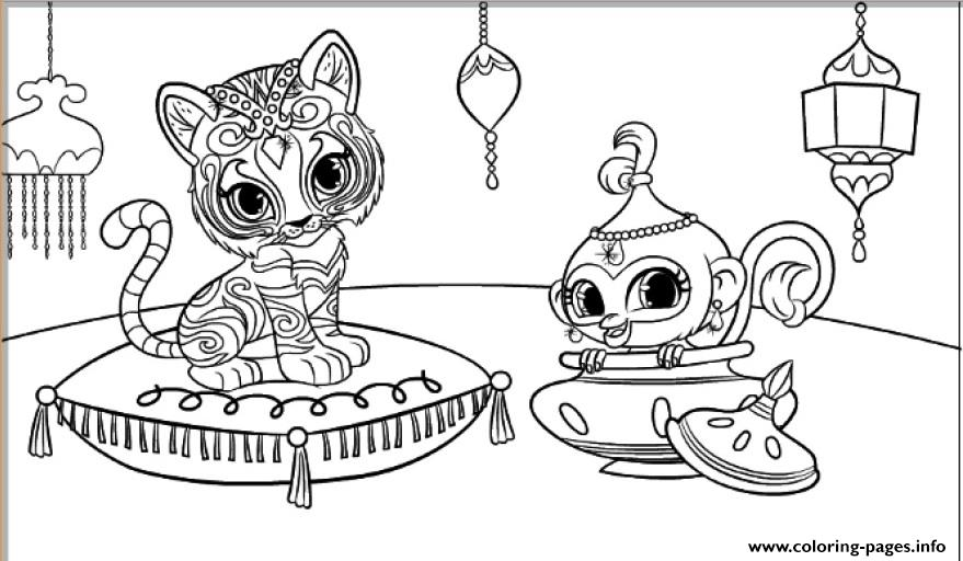 Shimmer And Shine Tiger And Monkey Coloring Pages Printable