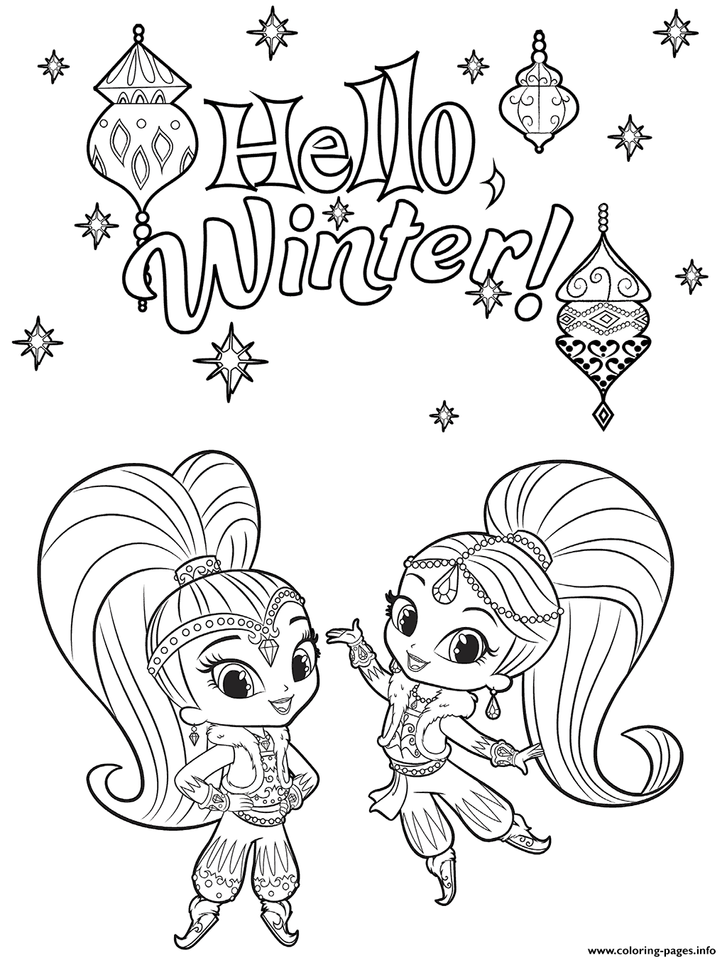 Shine And Shimmer Winter Coloring Pages Printable