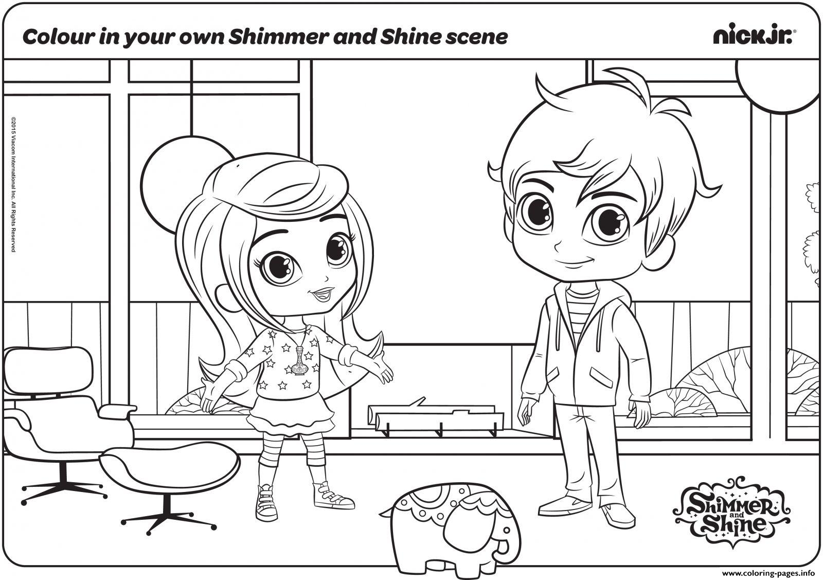 Colour in your own shimmer and shine scene coloring pages printable