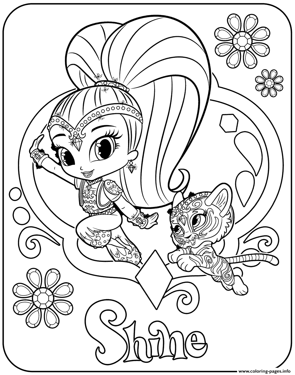 sweet genie shine and pet tiger coloring pages printable